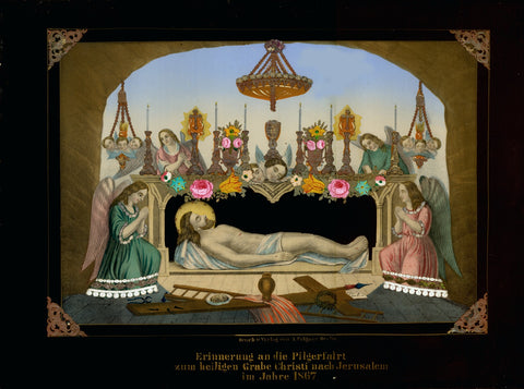 """Erinnerung an die Pilgerfahrt zum heiligen Grabe Christi nach Jerusalem im Jahre 1867""  (Reminiscense of the pilgrimage to the Holy Sepulcher of Christ to Jerusalem, 1867)  Chromolithograph printed in color and adorned with lacquer flowers, raised silver lace and raised silver and gold decor on challise, candle sticks, lamps and dress bordures. The four corners of lithograph raised with decorative silver triangles.An elaborate extremely well preserved religious piece of art.  Published by Felgner. Berlin,"