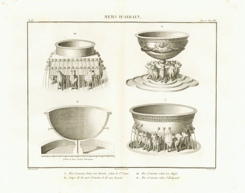 """Mers d'Airain""  The brazan sea - Ehernes Meer  It was a bronze basin in the Solomonic Temple in Jerusalem, made for ablution of the priests.  Copper etching by Adam after the drawing by Martin  Published in ""Saint Bible de Vence"" by Abbe Henri-Francois de Vence  Paris, 1827"