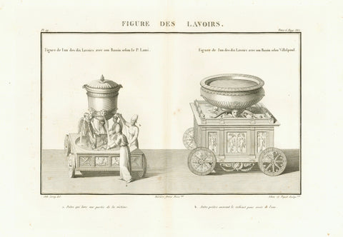 """Figure des Lavoirs""  Mobile Wash Basins (Wash places).  Copper etching by Adam after the drawing by Martin.  Published in ""Saint Bible de Vence"" by Abbe Henri-Francois de Vence Paris, 1827 Very good condition. Some scattered foxing spots in margins. Vertical centerfold to fit original book size."
