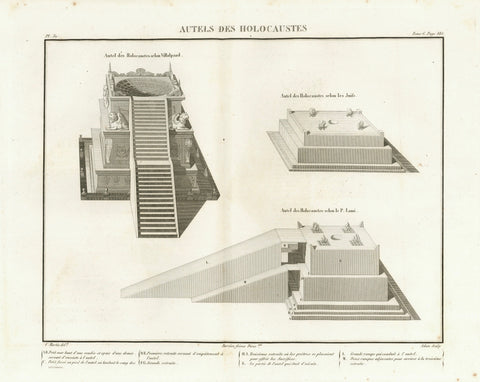 """Autels des Holocaustes""  Altars for burnt offerings (Holocaust)  Copper etching by Adam after the drawing by Martin  Published in ""Saint Bible de Vence"" by Abbe Henri-Francois de Vence  Paris, 1827"