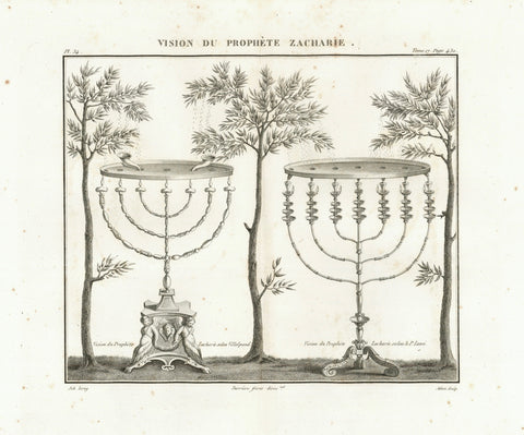 "Menorah and Olive trees. Part of the 7 visions of the prophet Zachary in the book ""Protosacharja"".  Left side of print: Vision of Zachary according to Villalpand  Right side of print: Vision of Zachary according to P. Lami  Copper etching by Adam after the drawing by Leroy  Published in ""Saint Bible de Vence"" by Abbe Henri-Francois de Vence  Paris, 1827"