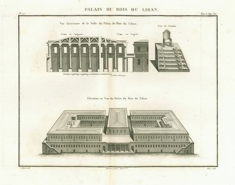 """Palais du Bois du Liban""  Copper etching by Adam after drawing by F. Martin  Published in ""Saint Bible de Vence"" by Abbe Henri-Francois de Vence  Paris, 1827"