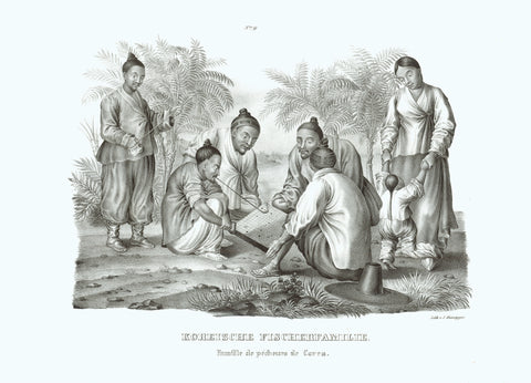 "Koreanische Fischerfamilie Famille de pecheurs de Corea  Play the game of ""Go"".  Original antique print   Lithograph by J. Honegger from ""Naturgeschichte und Abblidung des Menschen...""  by Heinrich Rudolf Schinz. Zurich, 1827. (Native people of the world)."