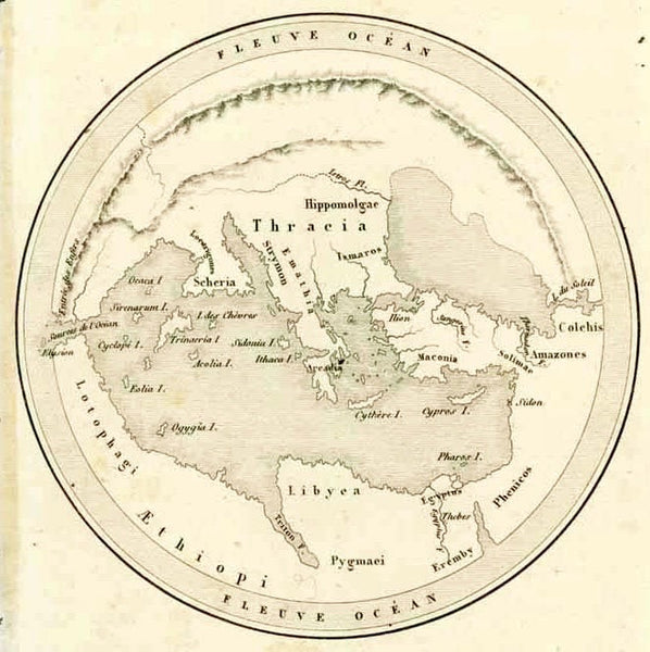 """Geographie D'Homer""  Steel engraving published 1844."