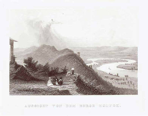 """Aussicht von dem Berge Holyok"" (view from Holyoke Mountain)  Steel engraving ca 1850. Anonymous."