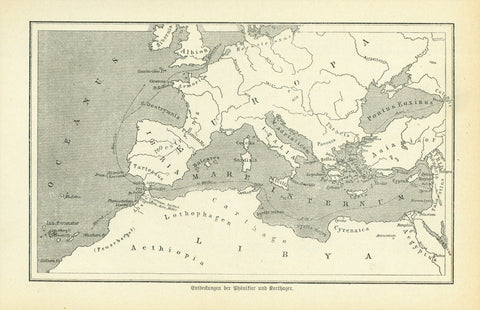"""Entdeckungen der Phoenizier und Karthager""  Wood engraving map published 1881. This map shows the early exploration routes of the Phoenicians and Cartaginians. On the reverse side is text about the early travels."