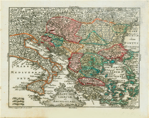 """Tabula Danubii Greciae et Archipelagi""  Copper engraving map by Tobias Conrad Lotter (1717-1777) after Tobias Lobeck for the ""Atlas Geographicus portabilis"" (pocket-size atlas) published 1760-1762. Original hand coloring.  Serbia outlined in orang is at the center of this map that shows the course of the Danube. In the upper left is Bohemia and Bavaria with Regensburg, Ingolstadt and Munich. Greece with its many islands and western Turkey fill the eastern Mediterranean Sea."
