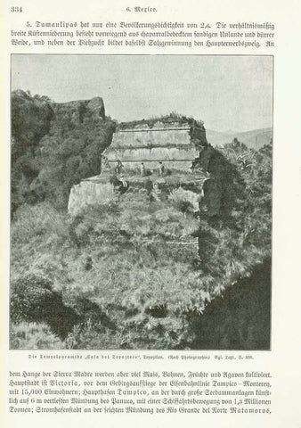 """Die Tempelpyramde ""Casa del Tepozteca"" Tepoztlan""  Wood engraving made after a photograph 1904. The image is on a page of German text about Yucatan, Campeche, Tabasco Veracruz and ruins of Mexico that continues on the reverse side.  Original antique print"