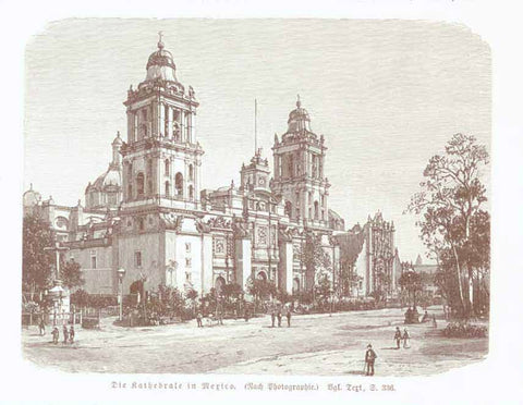 """Die Kathedrale in Mexico""  Wood engraving made after a photograph 1904. The image is on a page of German text about Mexico that continues on the reverse side.  Original antique print , interior design, wall decoration, ideas, idea, gift ideas, present, vintage, charming, special, decoration, home interior, living room design"