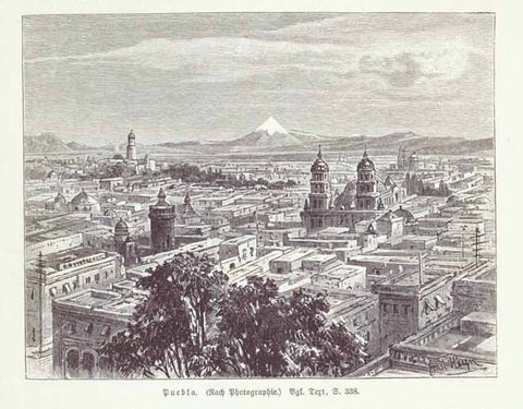 """Puebla""  Wood engraving made after a photograph. Published 1904. Image is on a page of German text about Puebla, Tlacala, Hidalgo and other parts of Mexico that continues on reverse side.  Original antique print , interior design, wall decoration, ideas, idea, gift ideas, present, vintage, charming, special, decoration, home interior, living room design"