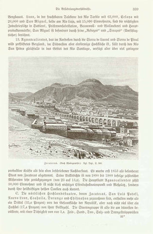 "Mexico. ""Zacatecas""  Wood engraving made after a photograph, 1904. Interesting German text about historical Zacatecas, San Luis, Nuevo Leon and other parts of Mexico.  Original antique print , interior design, wall decoration, ideas, idea, gift ideas, present, vintage, charming, special, decoration, home interior, living room design"