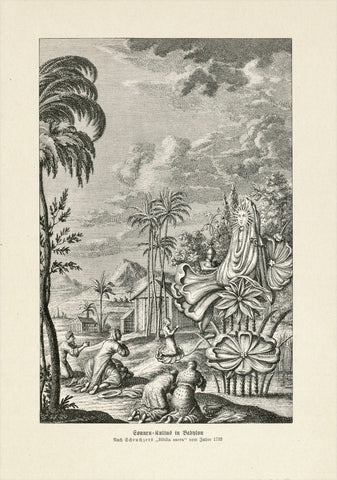 """Sonnen Kultus in Babylon"" (sun cult in Babylon)  Wood engraving published ca 1900. Reverse side is printed.  19 x 12,5 cm ( 7.4 x 4.9 "")"