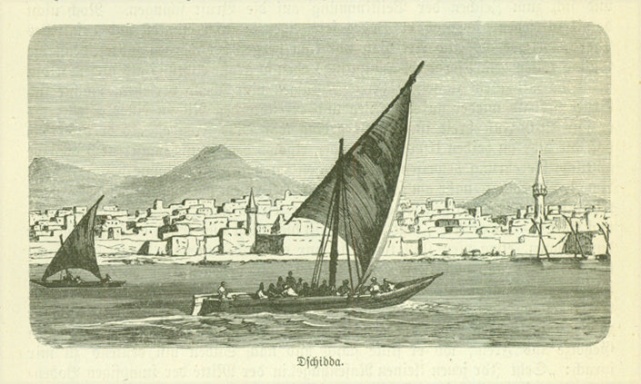 """Dschidda"" (Jeddah, Jiddah, Jedda, Jidda)  Wood engraving on a page of text about early exploration in the Middle East."