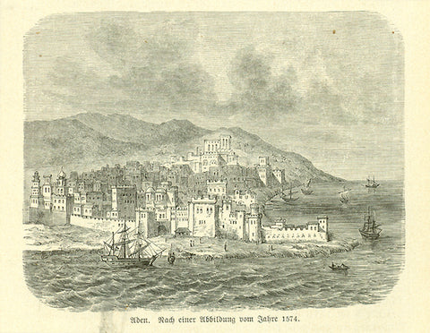 """Aden""  Wood engraving on a page of text that continues on the reverse side about early exploration in the area. Published 1881."