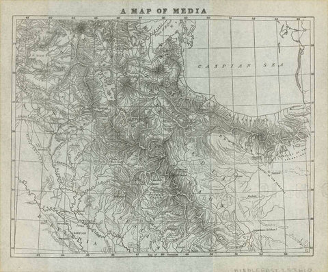 """A Map of Media""  Lithograph map published 1884 on fine paper in a book.  Ancient and modern nams are given on this map.  In the lower left is Babylon, which was the capital of Babylonia, a kingdom in ancient Mesopotamia, now  In the lower right is Isfahan. At the top center of the map is Mount Ararat.  Original antique print"
