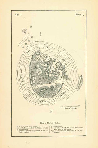 """Plan of Mugheir Ruins""  *****  Reverse:  ""Ruins of Warka(Erech)  Wood engravings published 1876.  Original antique print , interior design, wall decoration, ideas, idea, gift ideas, present, vintage, charming, special, decoration, home interior, living room design"