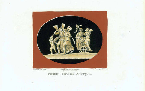 "No Title. Ariadne conduit au ciel.  Hand-colored (gouache) copperplate etching by Marais after J. B. Wicar (1762-1834)  Published in ""Tableaux, statues, bas-reliefs et camees de la Galerie de Florence et du Palais Pitti"""