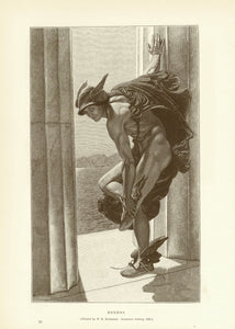 """Hermes""  Wood engraving after the painting by W. B. Richmond, 1886.  23 x 14.5 cm ( 9 x 5.7 "")"