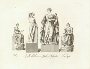 """Clio Apollo delphicus Apollo Musagetes Calliope""  Copper engraving after Leopold August Friese ( 1793-1842 ).  Published in Prague 1822. Very minor signs of age and use.  Page size: 25 x 31.5 cm ( 9.8 x 12.4 "")"