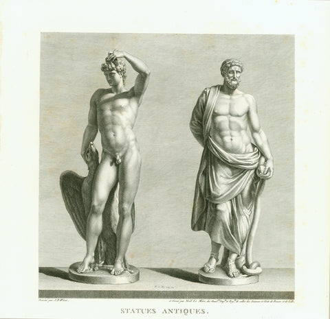 """Statues Antiques""  Left: Ganymede (the most beautiful among humans - loved by Zeus). Right Asclepius (God of Medicine)  Copper etching by Noel le Mire  After the drawing by Jean Baptiste Wicar (1762-1834)  Published in ""Tableaux, Statues, Bas-Reliefs et Camees de la Galerie de Florence et du Palais Pitti"". Florence, 1789"
