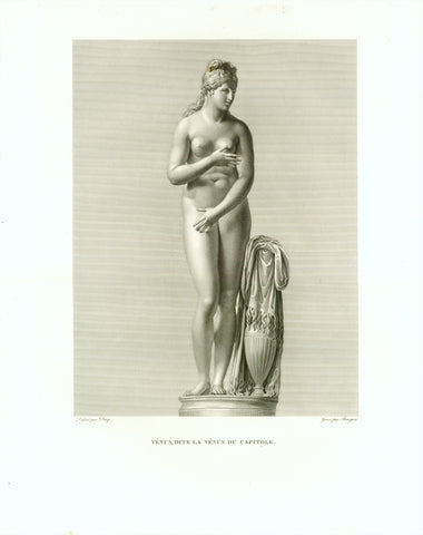 """Venus, dite la Venus du Capitole""  Copper etching by Bourgois  After the drawing by Ducq  Publlished in ""Musee Royal""  By Henri Laurant  Paris, 1816  Venus modeled in the typical chaste rendering of the Aphrodite de Knidos. It is now in the possession of ""Musei Capitolini"" in Rome."