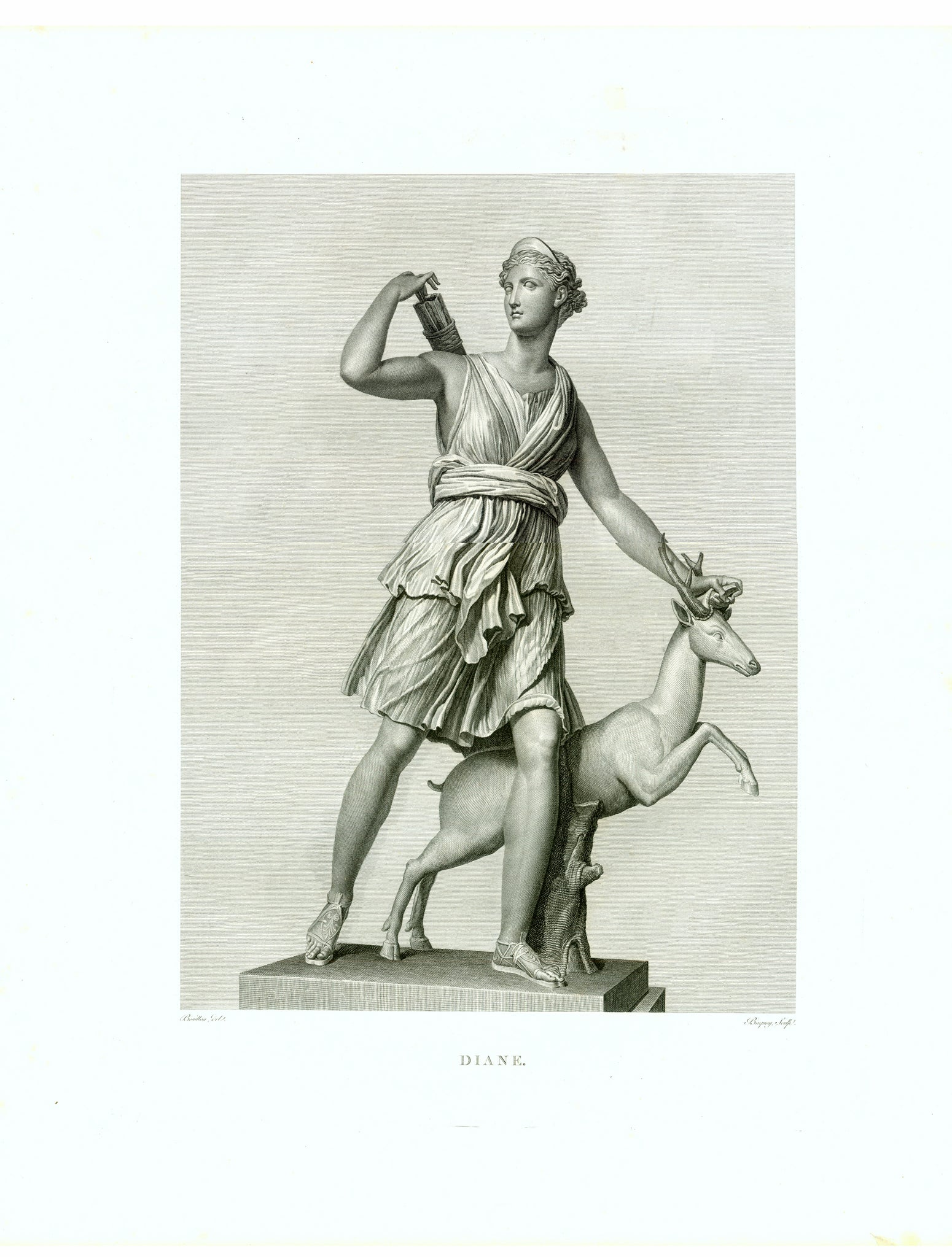 """Diane""  Copper etching by Baquoy  After the drawing by Bouillon  Published in ""Musee Royal"" by Henri Laurent  Paris, 1816  Roman Goddess of the Hunt ( Greek mythology: Artemis)  This statue, in the possession of the Louvre in Paris, has various names:  Diane of Versailles - Diana Huntress - Diana with a Doe - Diane a la biche. Diana, Artemis"