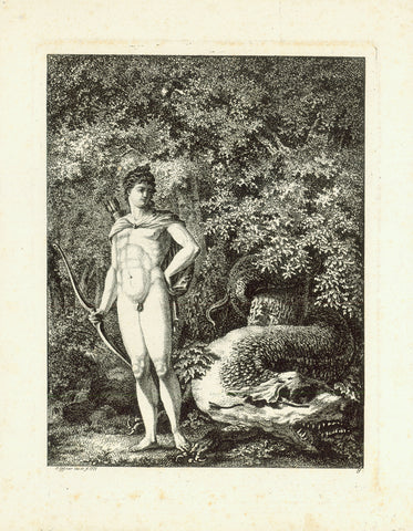 No title. Apollo, with bow and arrows, prepared to kill the fierce dragon.  This narrative of Greek / Roman mythology is described by Homer and, in variation, by Ovid.  Stipple copper etching by Salomon Gessner (1730-1788) after his own drawing.  Dated 1771