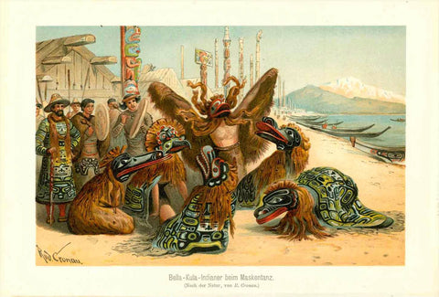 """Bella-Kula Indianer beim Maskentanz""  Fine chromolithograph after Rudolf Cronau. Published 1904  Bella Coola is a town in British Columbia.  Original antique print , interior design, wall decoration, ideas, idea, gift ideas, present, vintage, charming, special, decoration, home interior, living room design"
