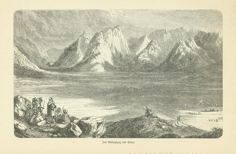 """Der Gebirgszug bei Sinai""  Wood engraving published 1885. On the reverse side is tex ( in German) about early exploration in the area."