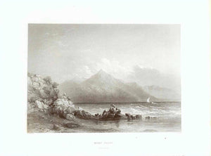 """Mount Casius"" (on the border between Syria and Turkey) ""from Selucia""  Steel engraving by C. Cousen after W.H. Bartlett, published 1854."