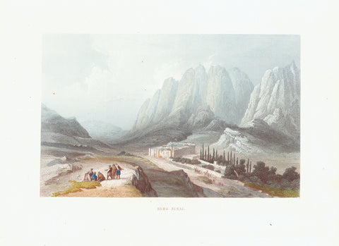 """Berg Sinai""  Toned steel engraving with hand coloried highlights. Published 1861  Original antique print , Naher Osten, Berg Sinai"