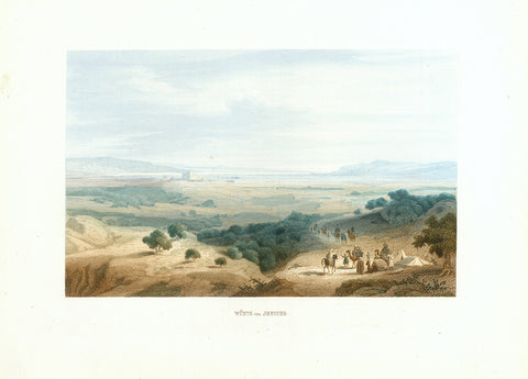 """Wueste von Jericho""  Toned steel enraving with hand colored finishing of the desert near Jericho. Published 1861.  Original antique print   Fine condition.  Image: 12 x 19 cm (4.7 x 7.4"")"