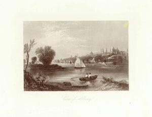 """View of Albany""  Fine steel engraving by D. G. Thompson ca 1860.  Wide margins."