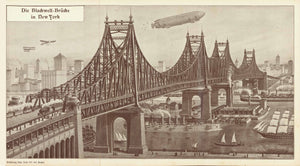 """Die Blackwell-Bruecke in New York""  Blackwell's Bridge in NYC.  Lithograph by R. Schmalenberg. His signature is in the lower right corner of this lithograph.It is undated. But it is safe to assume, that it was published in the year of inauguration  Blackwell's Bridge was named so during construction and for a short time after opening (1909)."