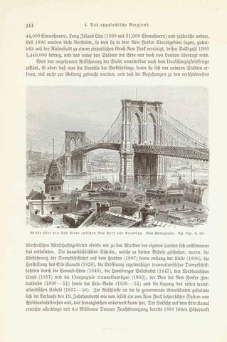 """Bruecke ueber den East River zwischen New York and Brooklyn""  Wood engravig made after a photograph 1904. Interesting German text about historical New York City that continues on reverse side.  Original antique print , interior design, wall decoration, ideas, idea, gift ideas, present, vintage, charming, special, decoration, home interior, living room design"