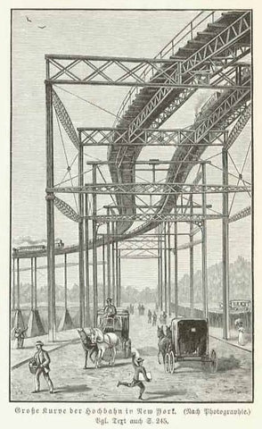 """Grosse Kurve der Hochbahn in New York""  Xylograph made after a photograph 1904. The image is on a page of German text about this high railway and the postal and telegraph system of New York City."