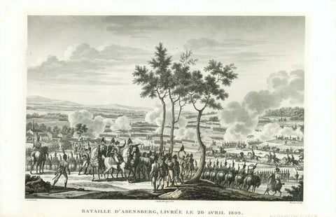 """Bataille d'Abensberg, livree le 20 Avril 1809""  Several battles took place (from April 19 to April 22, 1809) between Austrian troups under Archduke Karl and the French army under Emperor Napoleon I.  Copper etching by Edme Bovinet  After the drawing by Jacques Francois Joseph Swebach-Desfontaines (1769-1823)"