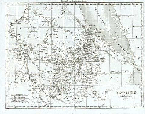 """Abyssinie""  Steel engraving map by Th. Duvotenay, published 1846."