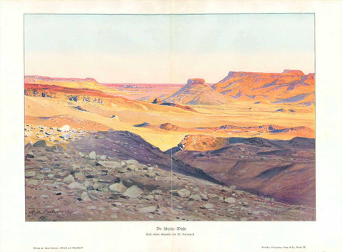 """Die libysche Wueste""  Chromolithograph after a painting by Wilhelm Kuhnert. Published 1905."