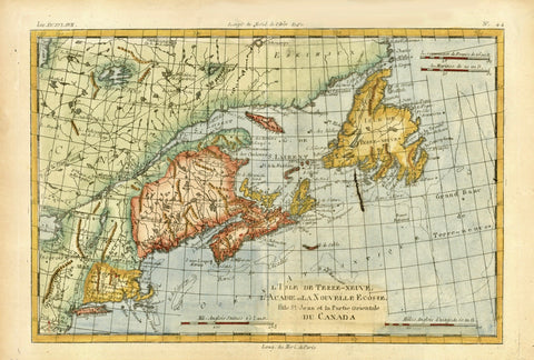 """L'Isle de Terre Neuve, L'Acadie, ou La Nouvelle Ecosse, I' Isle St. Jean et la Partie Orientale du Canada""  Detailed copper engraving map of Nova Scotia, St. John's Island, Newfoundland, New England and the St. Lawrence River.   The map extends south to  Long Island and New Jersey.  In the upper left is part of St. James Bay.  The map is by Bonne and Raynal, published ca 1780."