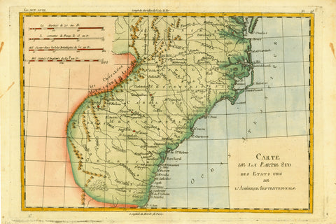 """Carte de la Partie Sud des Etats Unis de L'Amerique Septrionale""  Detailed copper engraving map of Georgia, Virginia and the Carolinas.  The map extends from Chesapeake Bay in the north to Amelie Island in the south.   The map is by Bonne and Raynal, published ca 1780.  Pleasant hand coloring. Vertical centerfold."