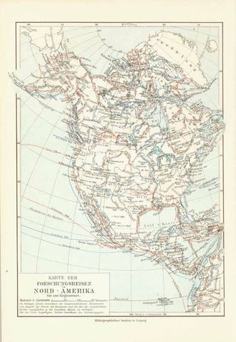 """Karte der Forschungsreisen Nord-Amerika""  Chromolithograph published 1904 showing the various expedition routes. The names of the various explorers is given on the colored lines.  Original antique print , interior design, wall decoration, ideas, idea, gift ideas, present, vintage, charming, special, decoration, home interior, living room design"