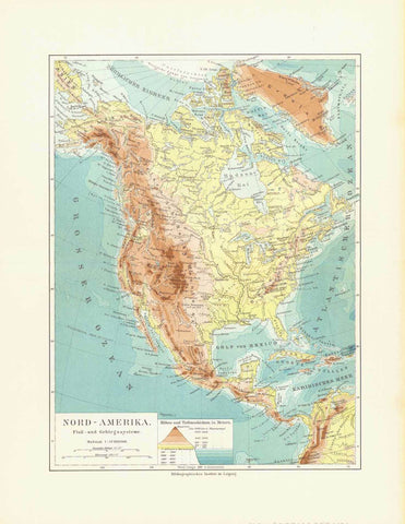 """Nord - Amerika Fluss und Gerbirgssysteme""  Chromolithograph published 1904.  Map shows the rivers and mountain ranges of North America.  Original antique print , interior design, wall decoration, ideas, idea, gift ideas, present, vintage, charming, special, decoration, home interior, living room design"