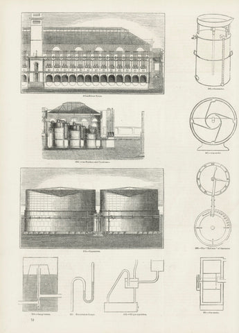 "Upper image: ""Retort House"" Middle image: ""Gas Purifiers and Condensers"" Lower image: ""Gasometers""  The smaller images show gas meters and other instruments.  Wood engravings published ca 1875. On the reverse side is unrelated text."