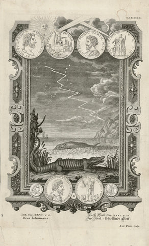 """Buch Hiob Cap. XXVI v. 13"" . The fulminant God. Crocodile and whale as well as coins and medals.  Copperplate etching. Published in ""Physica sacra"" (Bible) by Johann Jakob Scheuchzer. Augsburg, 1731-35"
