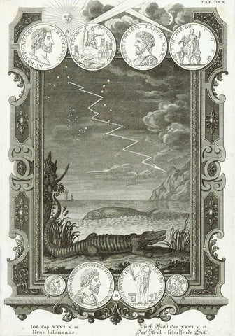 """Buch Hiob Cap. XXVI v. 13"" . The fulminant God. Crocodile and whale as well as coins and medals.  Copper etching. Published in ""Physica sacra"" (Bible) by Johann Jakob Scheuchzer. Augsburg, 1731-35  Original antique print"