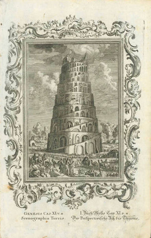 """Scenographia Turris""  ""Der Perspectivische Riss des Thurms""  The Tower of Babal  Genesis XI,4 - Book Mose  Copper etching .  Published in ""Biblia Sacra vulgatae editionis jussu Sixti V. Ponif. Max. recognita.""  Konstanz (Constance), 1770  Original antique print"