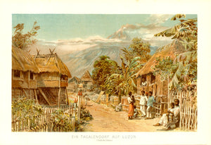 "Philippines: ""Ein Tagalendorf auf Luzon"" ( Tagalog village on Luzon),  Chromolithograph after E. T. Compton published 1890."