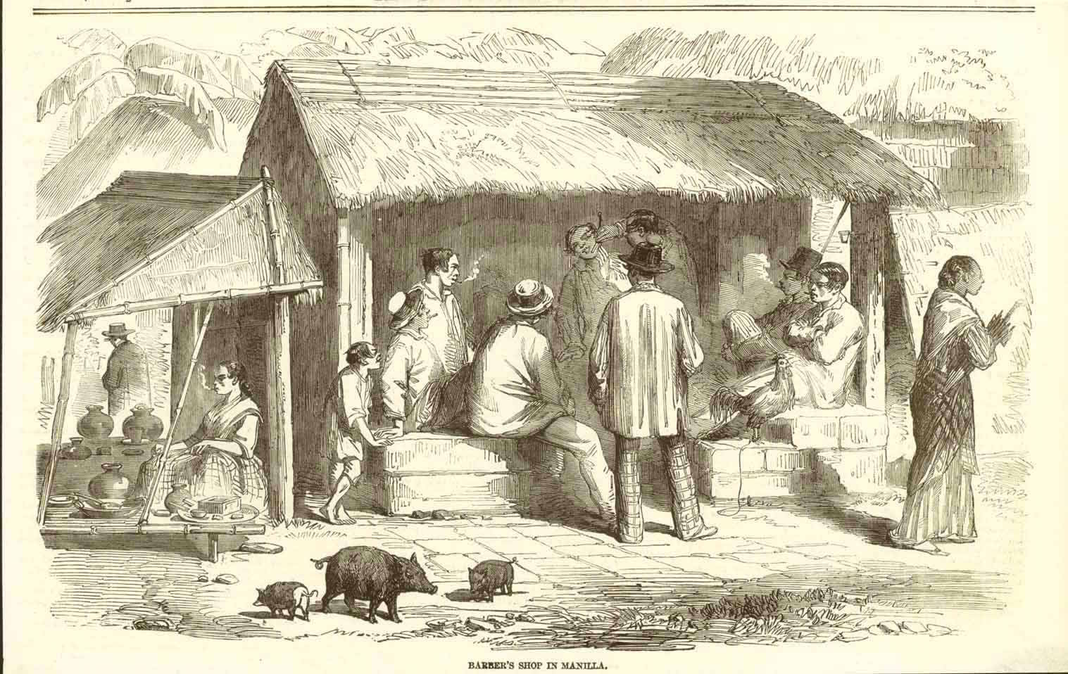 """Barber's Shop in Manila""  Wood engraving published 1858 in London. Reverse side is printed with unrelated text."