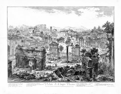"""Veduta di Campo Vaccino"" - Foro Romano  Copper etching by Giovanni Battista Piranesi (1720-1778)  Published in ""Vedute di Roma""  Hind 40. State III from VI. Rome, 1757  Original antique print   From 17th to the 19th century, before grand style excavations, the suburban area of the Foro Romano, was called Campo Vaccio. It was indeed used as a cow pasture and for animal market. That is why Giovanni Battista Piranesi, one of the greatest  Roman architects and artists, gave this title to his impressive etching"
